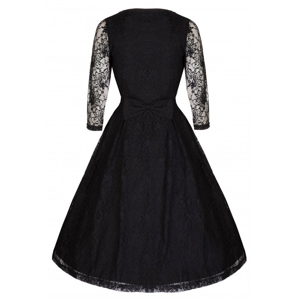 Black Lace Long Sleeve Evening Dress