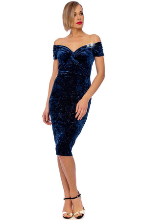 Navy Crushed Velvet Twisted Bust Midi Dress