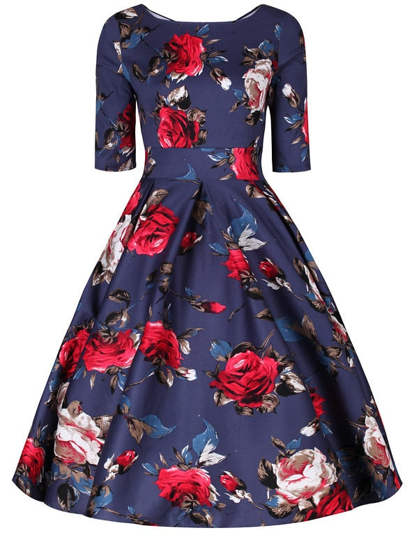 Liana Midnight Blue Rose Flare Dress