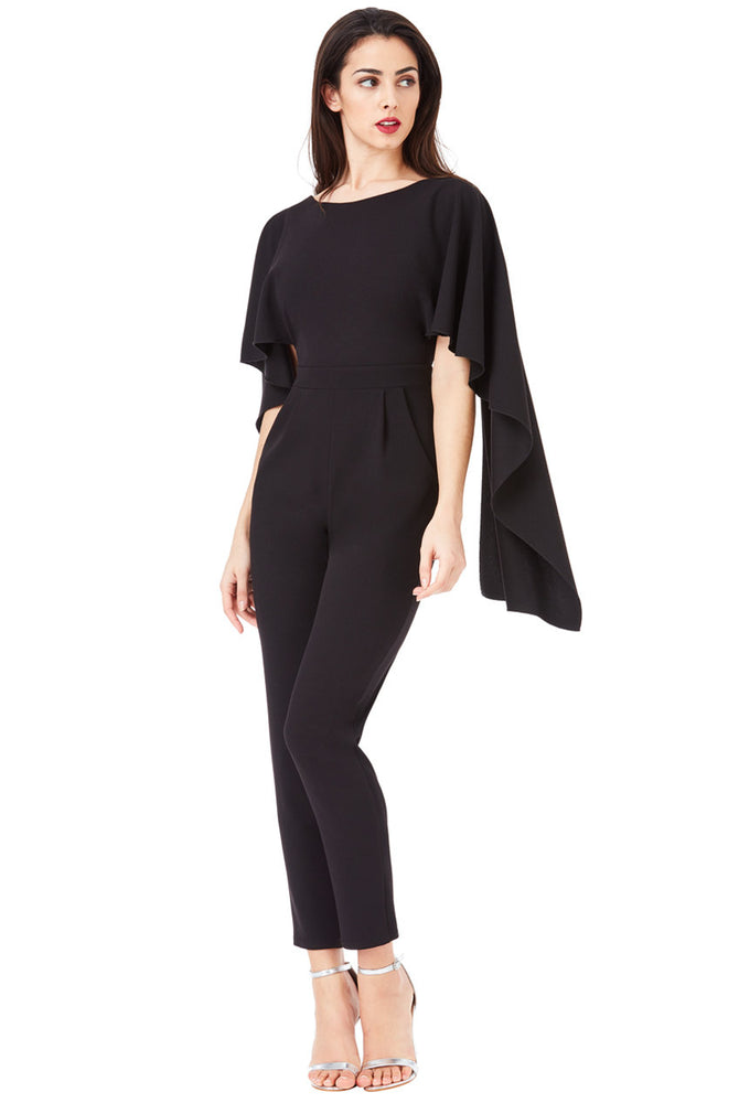 Black Open Back Jumpsuit with Waterfall Sleeve
