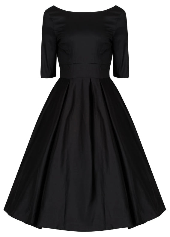 Liana Jet Black Flare Dress