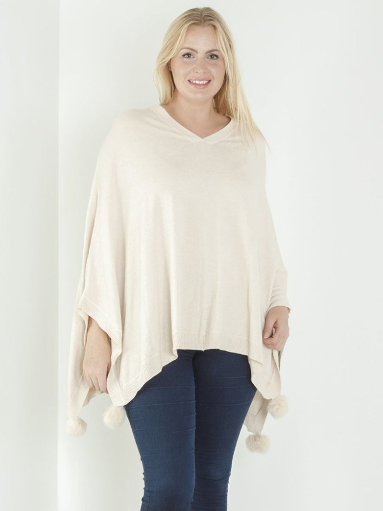 V-NECK SOFT KNIT POM POM PONCHO