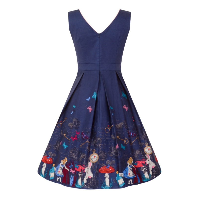 'Valerie' Navy Alice in Wonderland Print Swing Dress