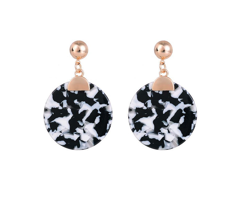 Black Hanging Disc Earrings