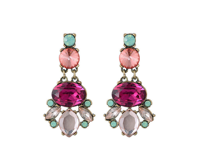 Chunky Rhinestone Dangly Earrings