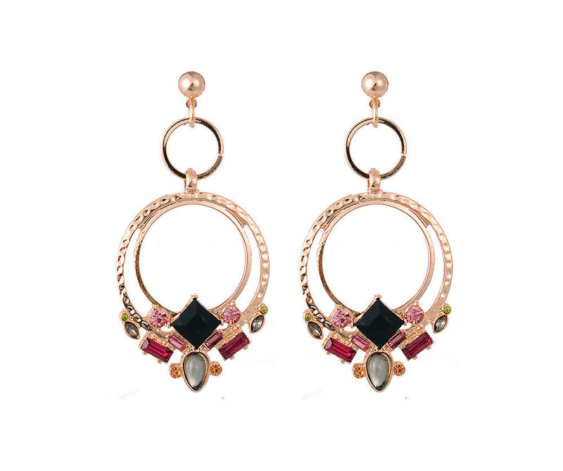 Triple Hoop and Gem Earrings