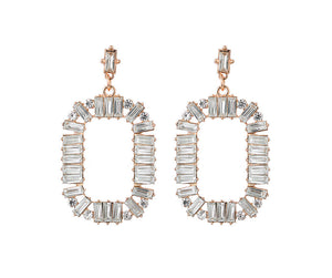 Large Crystal Oval Hoop Earrings