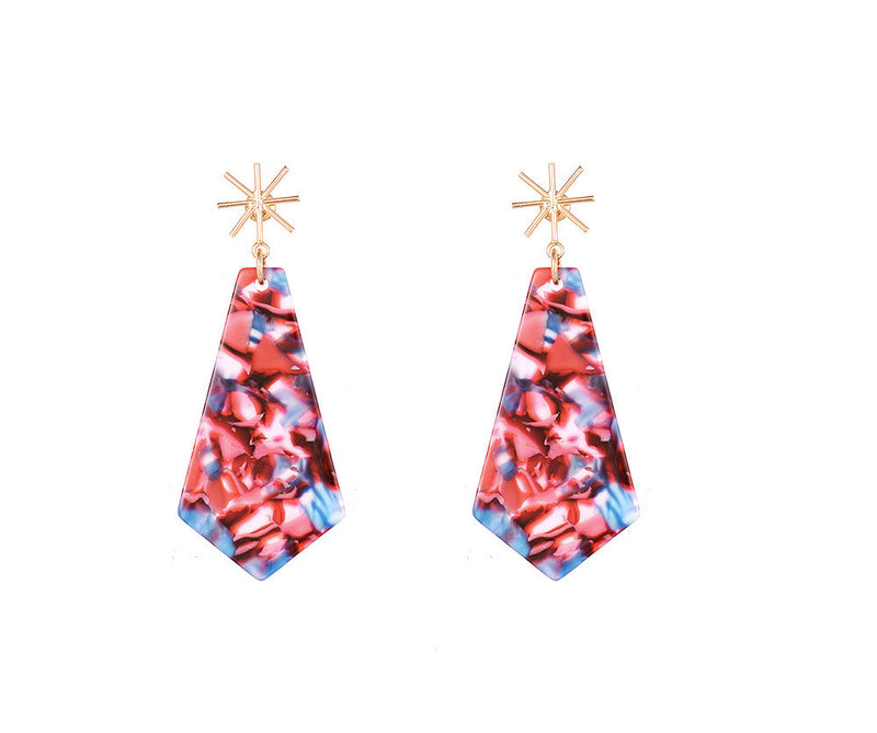 Blue and Pink Acrylic Geo Earrings