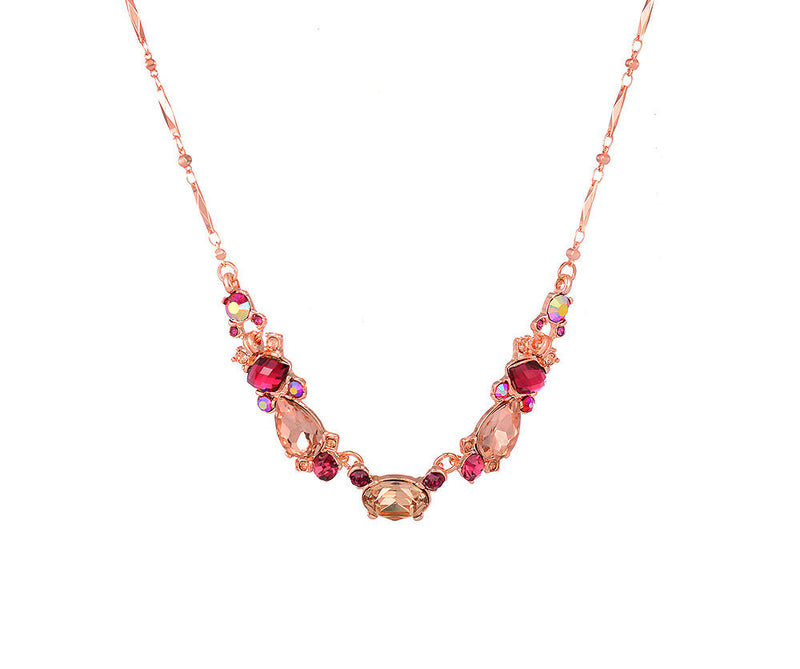 Red and Peach Vintage inspired Necklace