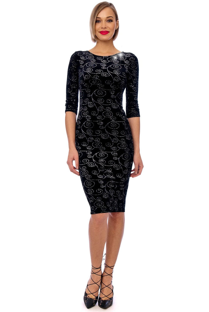 Black Glitter Velvet 3/4 Sleeve Midi Dress