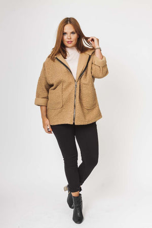 Textured Wool Hooded Jacket in Camel