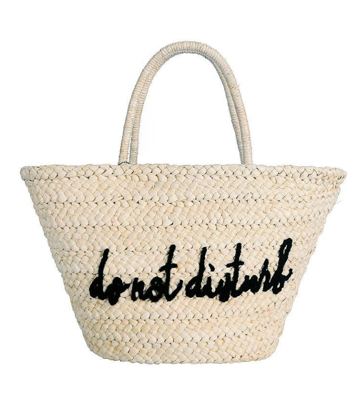 Do Not Disturb Embroidered Straw Shopper