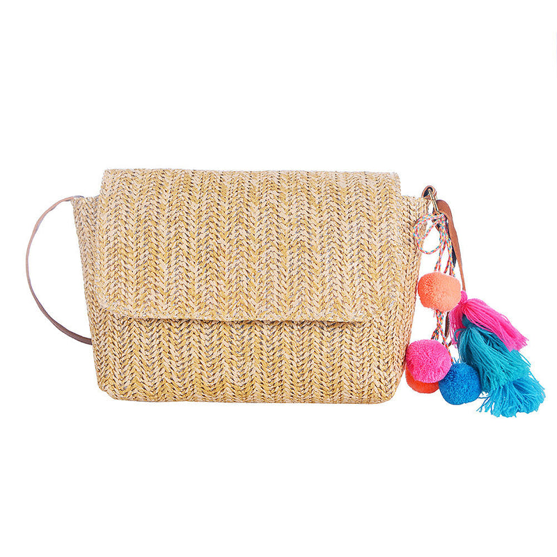 Straw Look Cross Body Bag with Vibrant Tassel
