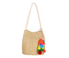Straw Look Shoulder Bag With Vibrant Tassel