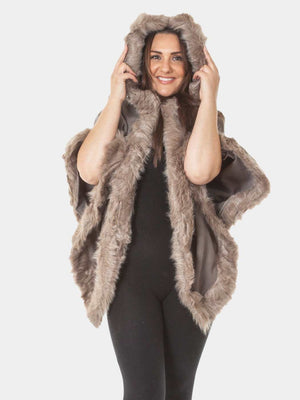 Faux Fur Trim Hooded Cape - Mocha