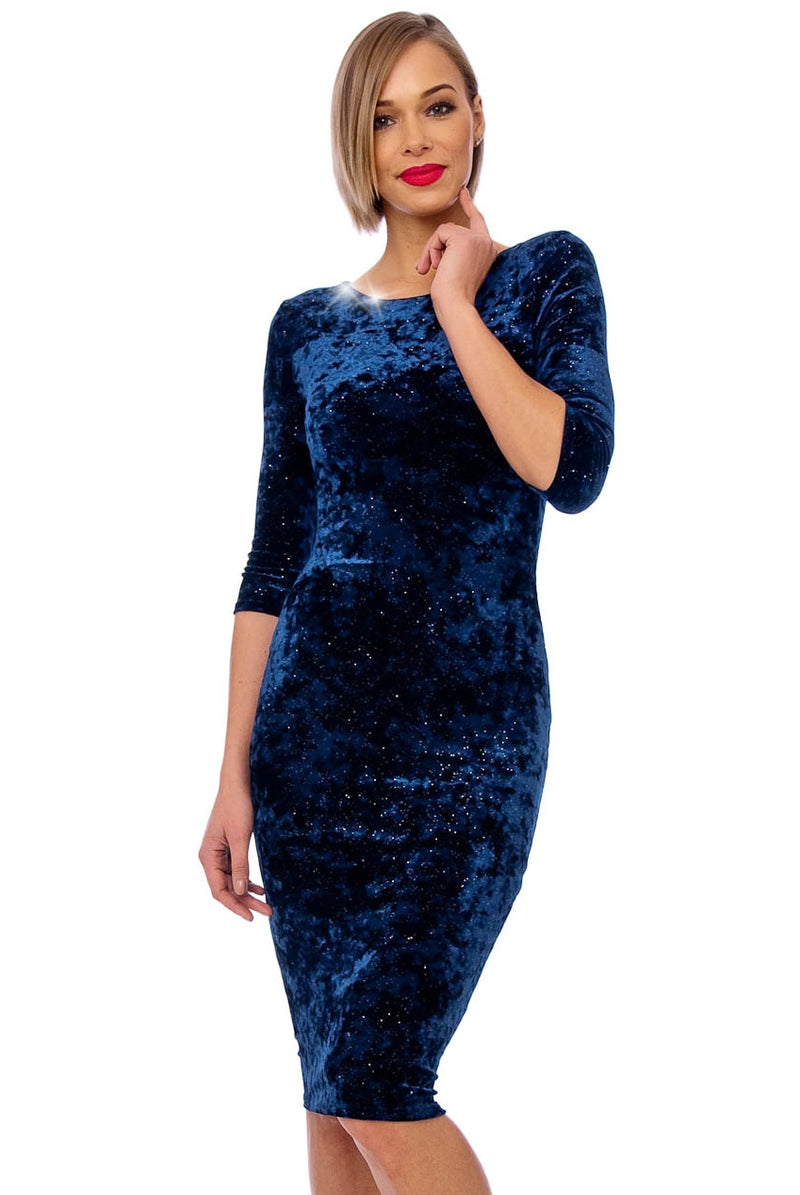 Navy Crushed Velvet 3/4 Sleeve Midi Dress