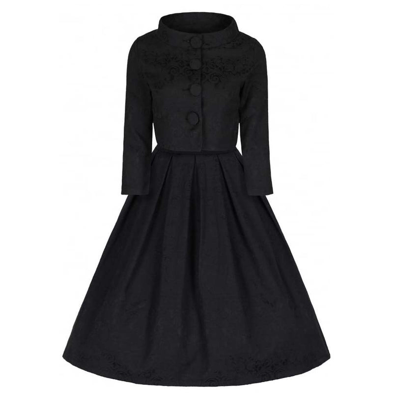 'Marianne' Black Swing Dress and Jacket Twin Set