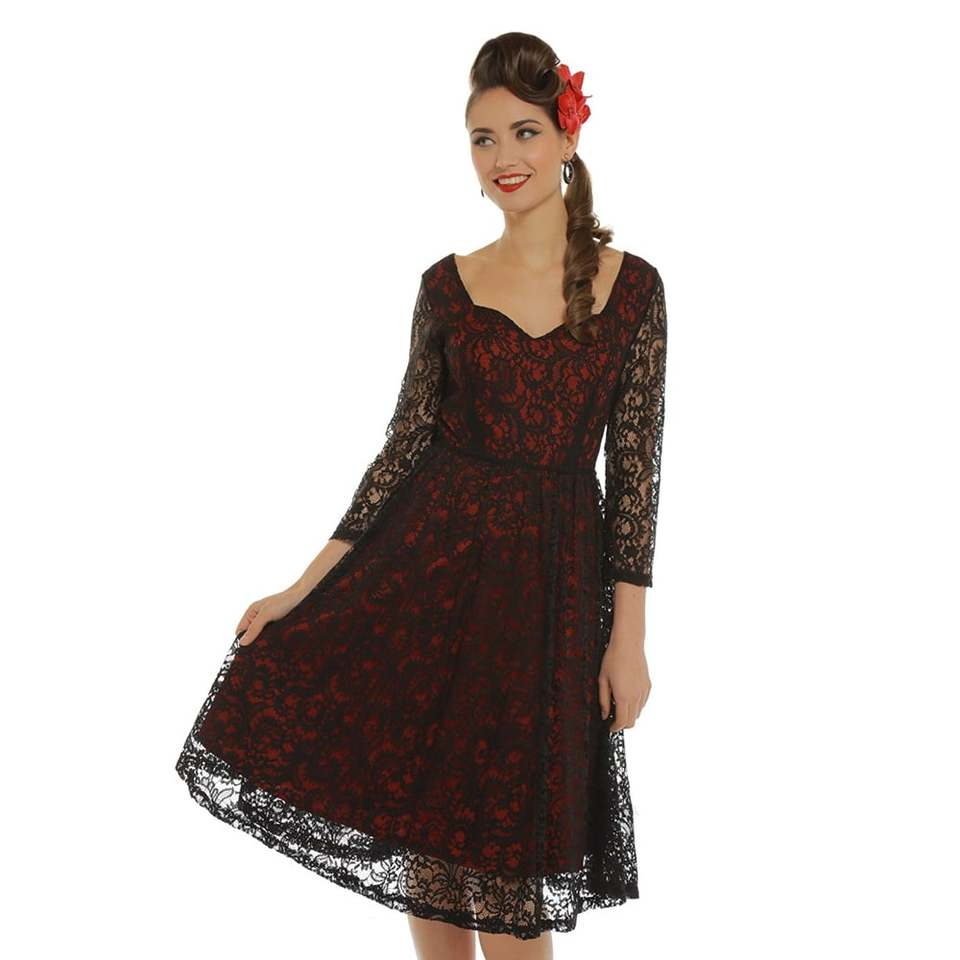 f6fa1d7a9efb  Lucinda  Red and Black Lace Dress.