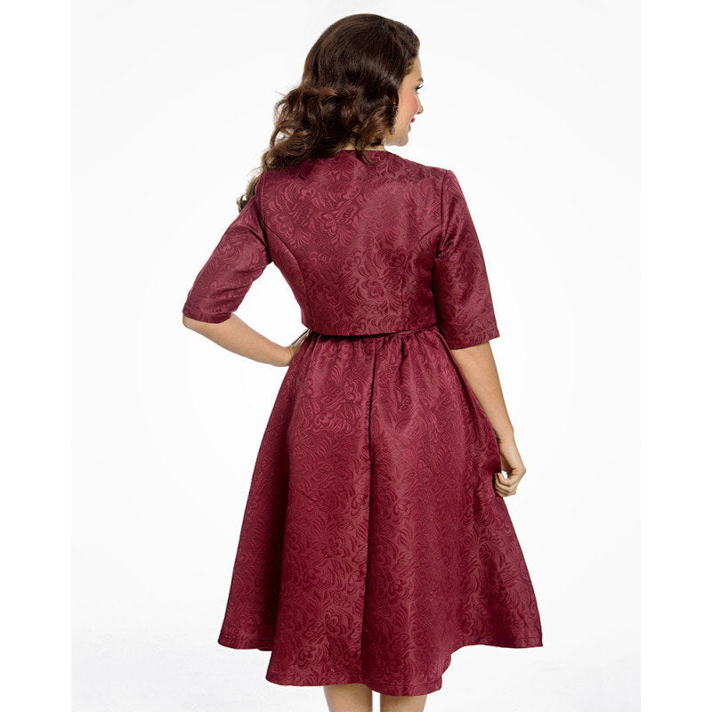 Burgundy Swing Dress and Jacket Twin Set - Tiana