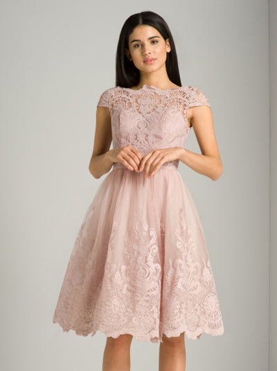 Cap Sleeve Baroque Style Tea Dress - Chi Chi Liviah