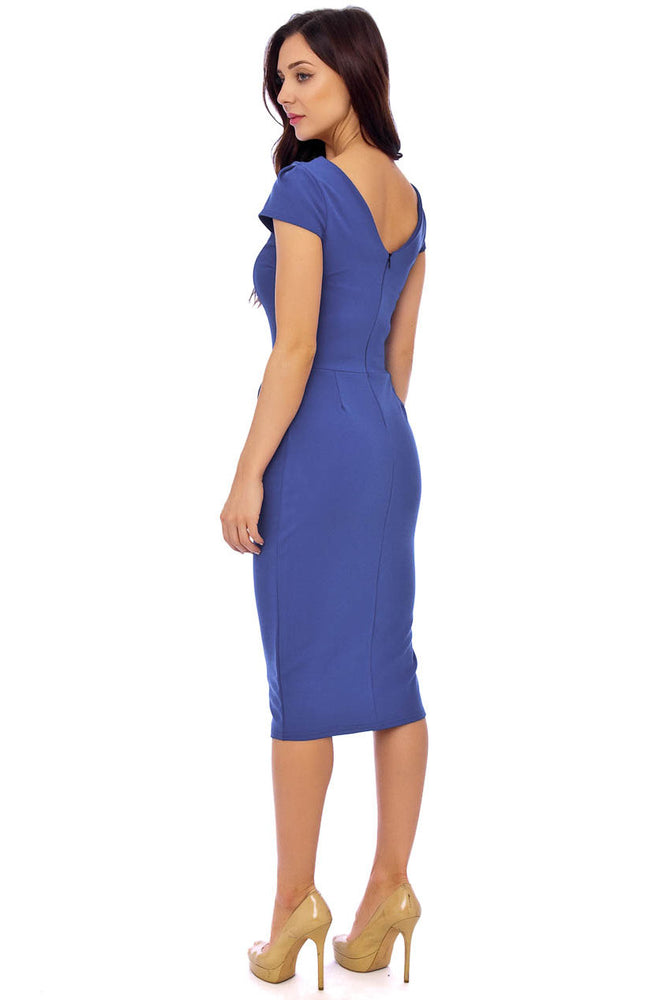 Blue Crepe Dress With Bust Pleat Detailing