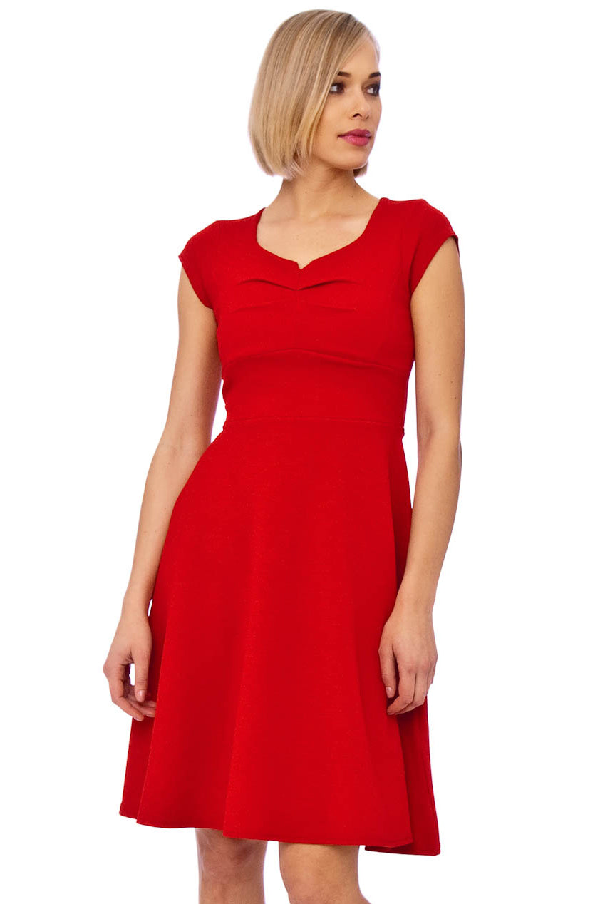 Red Crepe Full Skirt Dress