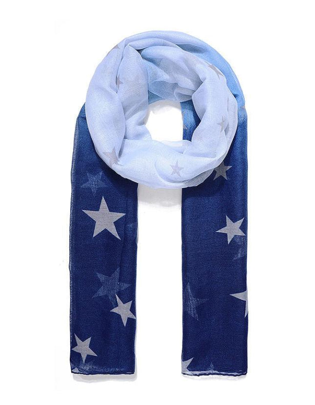 Blue Ombre Star Print Scarf