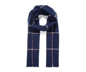 Navy Blue Checked Scarf