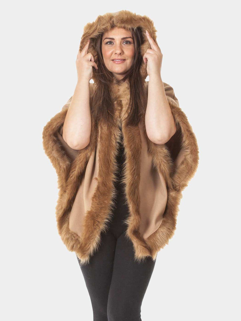 Faux Fur Trim Hooded Cape - Caramel