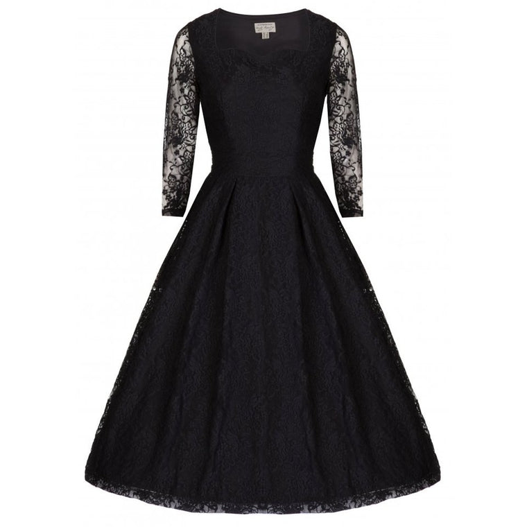 Black Lace Long Sleeve Evening Dress - Lisette