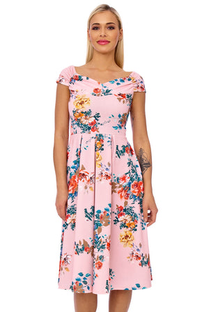 Annabella Flower Fit and Flare Dress
