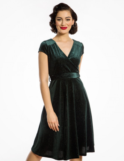 79ec3b11a769 'Dawn' Deep Green Velvet Swing Dress. '