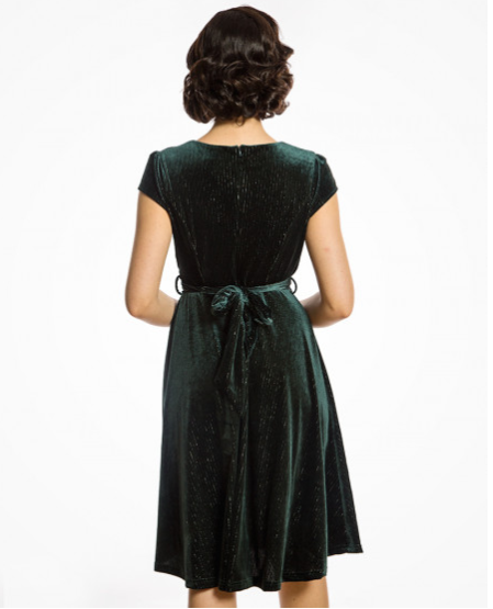 'Dawn' Deep Green Velvet Swing Dress