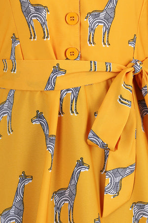 Mustard Giraffe Shirt Dress with Sleeves