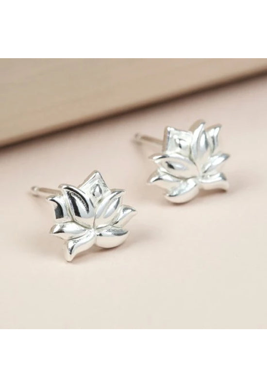 Sterling Silver Lotus Flower Stud Earrings