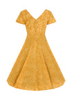 Mustard Cap Sleeve Swing Dress