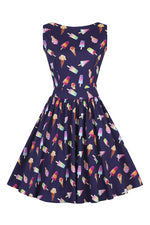 Navy Ice Cream Print Tea Dress