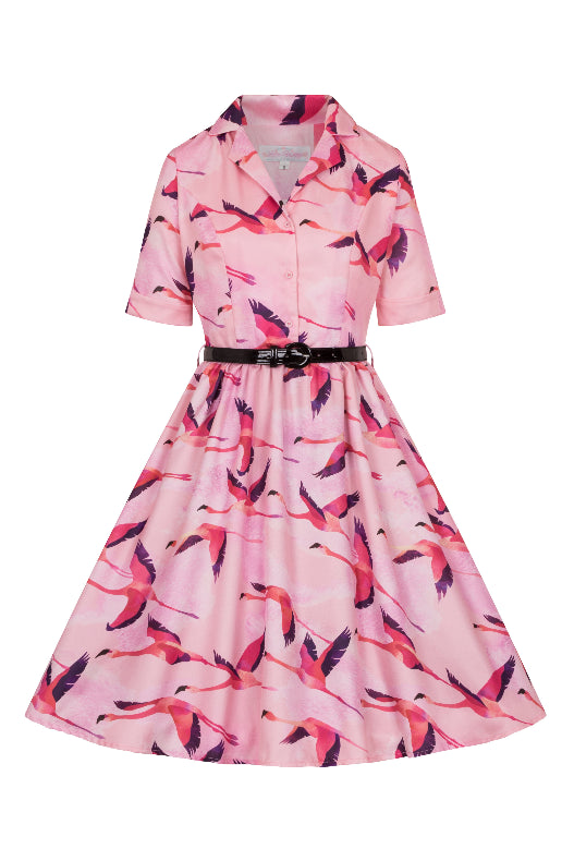 Flying Flamingos Shirt Dress