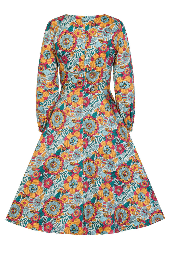 Retro Geometric Print Swing Dress