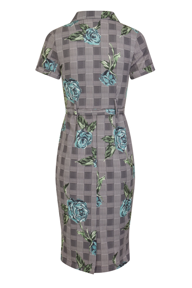 Eva Roses On Check Fitted Shirt Dress