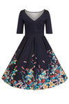Liana Navy Floral Border Flare Dress