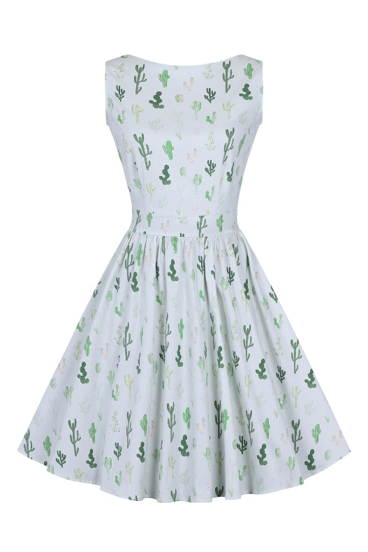 Mint Green Cactus Print Tea Dress