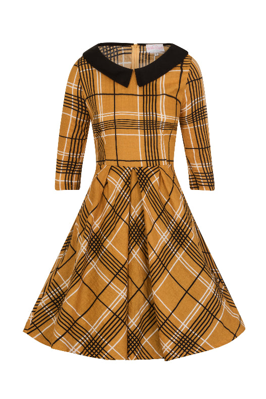 Izzie Mustard Check Dress