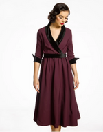'Marisole' Purple Velvet Swing Dress