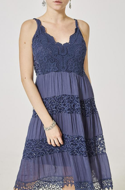 Navy Lace Details Cami Dress