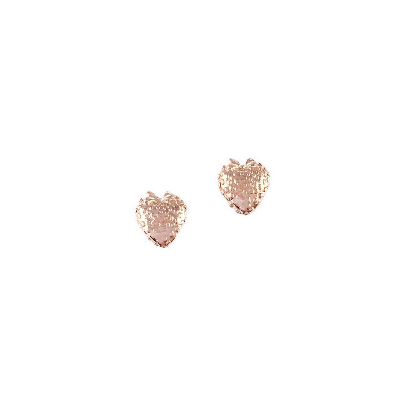 Rose Gold Strawberry Stud Earrings