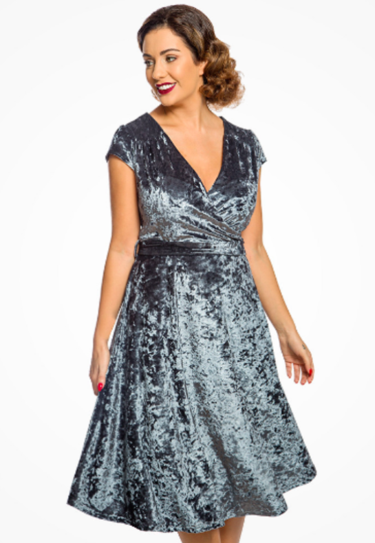 'Dawn' Blue Velvet Swing Dress