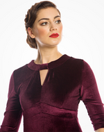 'Josie' Wine Velvet Tea Dress