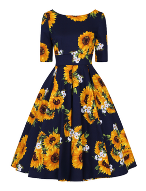 Liana Navy Sunflower Dress
