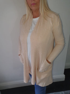 Nude Pink Pearl Cardigan with Diamante Pockets
